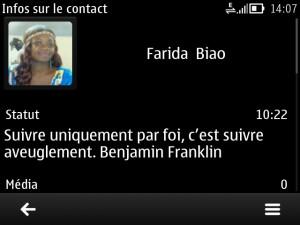 Statut whatsapp de @farida_biao le 15-03-2015